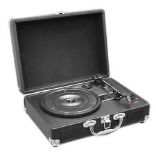 Retro Belt-Drive Turntable with USB-to-PC Connection, Rechargeable Battery Black