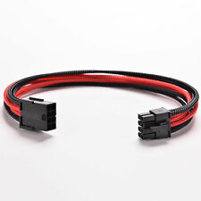 8Pin 30cm ATX Board PSU Power Supply Extension Cable Wire Black Red Sleeved fb