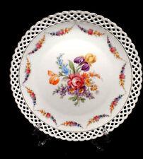 """Vintage Schumann Bavaria Dresden Floral Pierced Reticulated 10"""" Round Plate"""