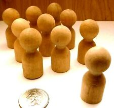 LOT OF 10 MINIATURE UNFINISHED WOOD PEG PEOPLE/CAKE TOPPERS/ ARTS AND CRAFTS