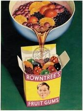 Rowntree's Fruit Gums Vintage Ad Kitchen Cafe or Restaurant Small Metal/Tin Sign
