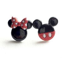 Mickey Mouse Stud Earrings, Minnie Mouse Studs, Jewelry, Retro, Kawaii