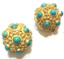 Vtg Silver Chinese Gold Gilded Etruscan Turquoise Stones Clip Earrings Marked -2