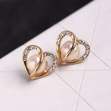 Vogue Women Love Gift Jewelry Rose Gold Hollow Heart Rhinestone Pearl Earrings