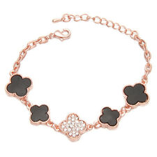 1x New Women Rose Gold Black Enamel Rhinestone Flower Jewelry Chain Bracelet BS