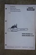 1985 Sachs Dolmar 110 110H Chain Saw Spare Parts List   MORE IN OUR STORE V