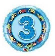"""18"""" Foil Balloon printed Blue 3rd Birthday with Tractor"""
