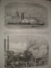 New london flottant fire engine & fire southampton docks 1868 old prints ref W1