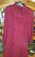 Taglia 10 Vintage Red lana & cashmere caldo cappotto lungo formale in buonissima condizione 90s POWER WOMAN