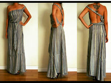Silk YAYA Stripe CHIFFON Backless MULTI WAY BOHO Tiered Festival MAXI Dress M