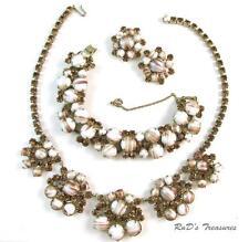 Vintage JULIANA D&E Topaz Rhinestone Gold FLUSS Necklace Bracelet & Earrings SET