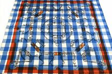 Auth Mint HERMES Scarf 100%Silk MORS et Gourmettes Blue With Box 23734
