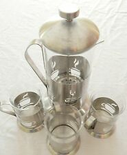 French Coffee Press & 3 Matching Mugs Berghoff Stainless Steel & Tempered Glass