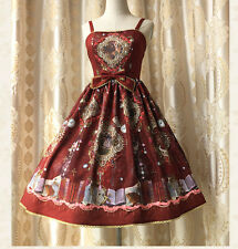 Cosplay Sweet Love Lolita Vintage Fairy Tales  JSK Princess Dress (Red Wine)
