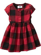 NWT Old Navy 3T 3 Toddler Girls Red Black Buffalo Plaid Dress