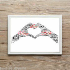 Couple Boyfriend Girlfriend Lovers Personalised A4 Word Art Print Gift Valentine
