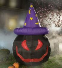 Halloween Inflatable 10' Black Pumpkin with Witch Hat