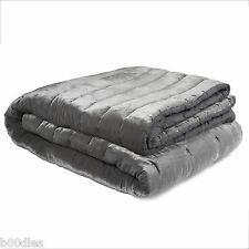 LAURA ASHLEY VELVET DOVE GREY / SILVER QUILTED BEDSPREAD BED COVER - PRE-OWNED