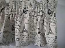 French Script, Paris Script Eiffel Tower Crown Cotton Grain Feed Sack Valance