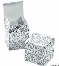 100 SILVER WHITE Swirl Flourish Damask Scroll Wedding Gift Favor Bags/Boxes