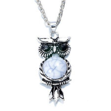 NEW Women Vintage Crystal Owl Pendant Necklace Long Chain Rhinestone Jewelry