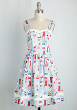 Modcloth Flavor Fave A-Line Dress in Sky XL Popsicles Ice Cream Fruit Summer