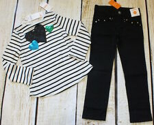 NWT 5 5T Gymboree Fancy Dalmation heart embroidered striped top, black jeans set