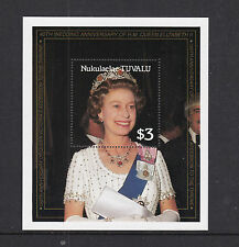 TUVALU NUKULAELAE 1987 QUEEN 40th WEDDING ANNIVERSARY $3 MINIATURE SHEET MNH
