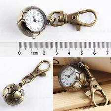 Football Quartz Pocket Watch Stainless Steel Bronze Retro Key Ring Chain Gift