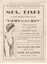 "Mrs. Fiske (Minnie Maddern Fiske) Flyer ""Ladies of the Jury""  1929  Broadway"