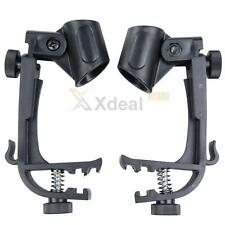 2PCS Adjustable Clip On Drum Rim Shock Mount Microphone Mic Clamp Holder 2-Pack