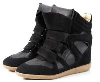 New Women's High Top Velcro Strap Wedge Hidden Heel Sneaker Ankle Boots Shoes