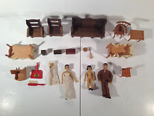Vintage Lot (20 Pieces) Doll House Miniature Furniture Wood + Dolls