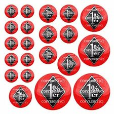 21 Premium Domed Round 3M Decal Sticker Set Car Truck - 1% er Percent Red Black