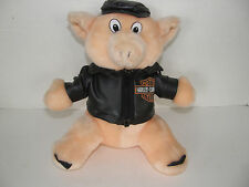 HARLEY DAVIDSON MOTORCYCLES STUFFED PLUSH PIG WITH LEATHER JACKET AND HAT