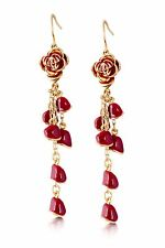 Disney Couture Beauty & the Beast Belle Red Rose & Petals Earrings