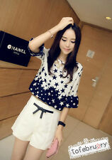 Asian Korean Womens Fashion Style Casual Cute Universe Galaxy Star Top