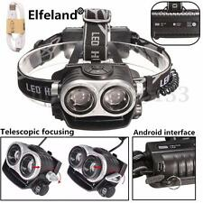 Elfeland 10000LM 2x T6 Linterna Cabeza Elasticidad Zoom Carga de USB 3modos