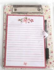 Small Mini Clipboard Metal Clip Pad & Pen Pink Flowers Design Shopping List
