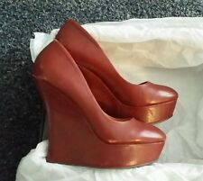l.a.m.b. gwen stefani Novice Burgundy Leather Platform Wedge Shoes Size 6