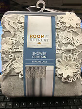 Room & Retreat Fabric shower Curtain burano lace Gray Silver White Layered
