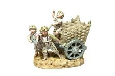 ANTIQUE PORCELAIN GERMAN FIGURINE STATUE KIDS & CARRIAGE GORGEOUS CHILDREN VASE