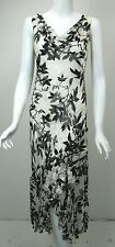 SUE WONG Nocturne Black/White Sequined Burnout Silk Dress Gown sz 8