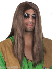 Adult Mens 60s 70s Long Dark Brown Straight John Lennon Hippy Hippy Costume Wig