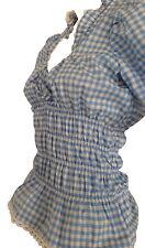 Trachtenblusen Blusen Damen Freizeitblusen Tuniken Dirndlblusen Blau Weiß 46 Neu