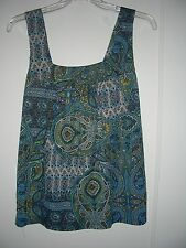 NWT Forever 21 Paisley Tank Cami Tunic Top Turqouise Teal Blue Yellow gold