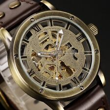Vintage Mens Leather Bronze Skeleton Automatic Mechanical Wrist Watch + Bookmark