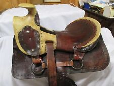 Rare Exquisite ANTIQUE 1860s Exposed Rawhide & Leather Riding Saddle & Stirrups