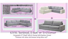"""IKEA Kivik""""2+3""""Seat Corner""""Sectional,5-Seat""""Sofa Cover Isunda Gray Slipcover NEW"""