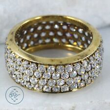 Sterling Silver - 8mm Gold Gate Pave Wide Band 5g - Ring (6.25) IC5603